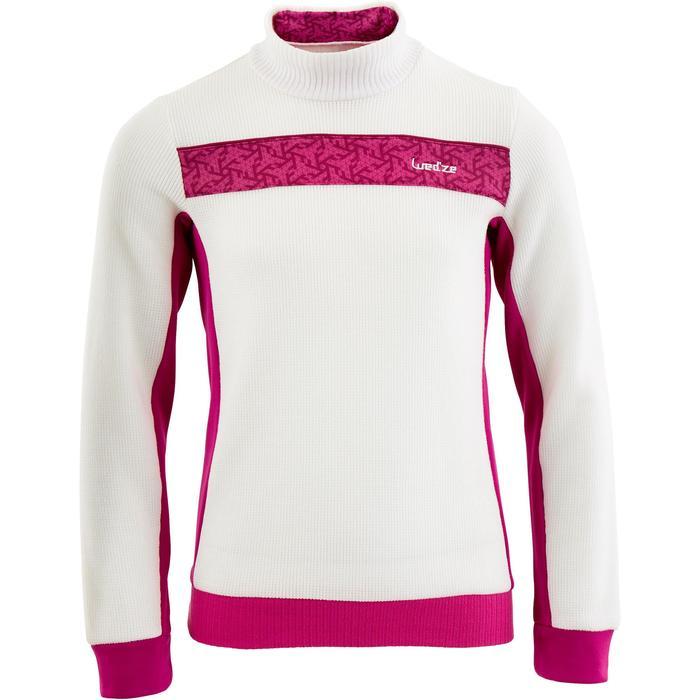 Unterziehjacke Ski Mid Warm 100 Kinder weiß/rosa
