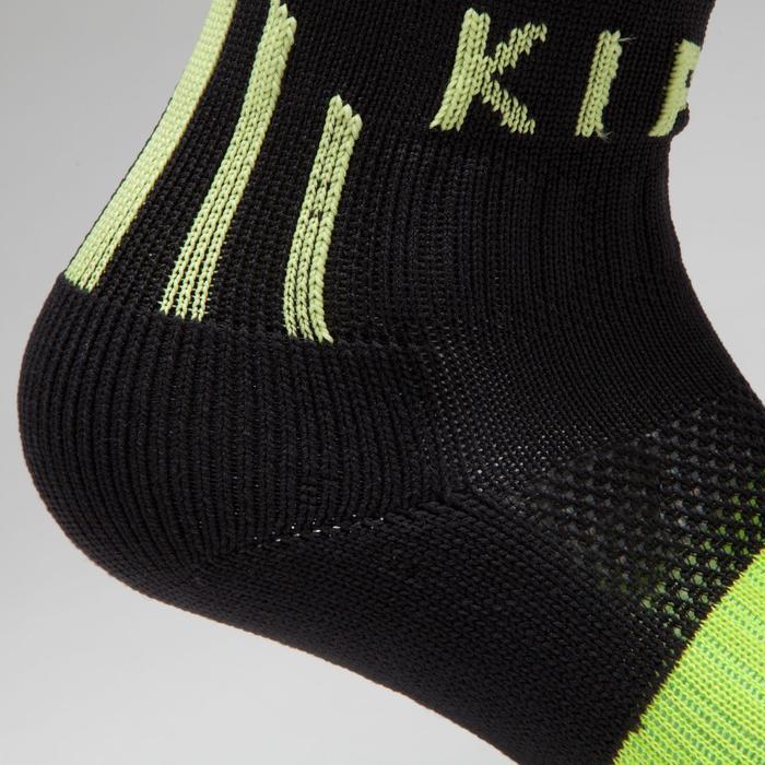 Chaussette de football adulte F500 noire et jaune acide fluo