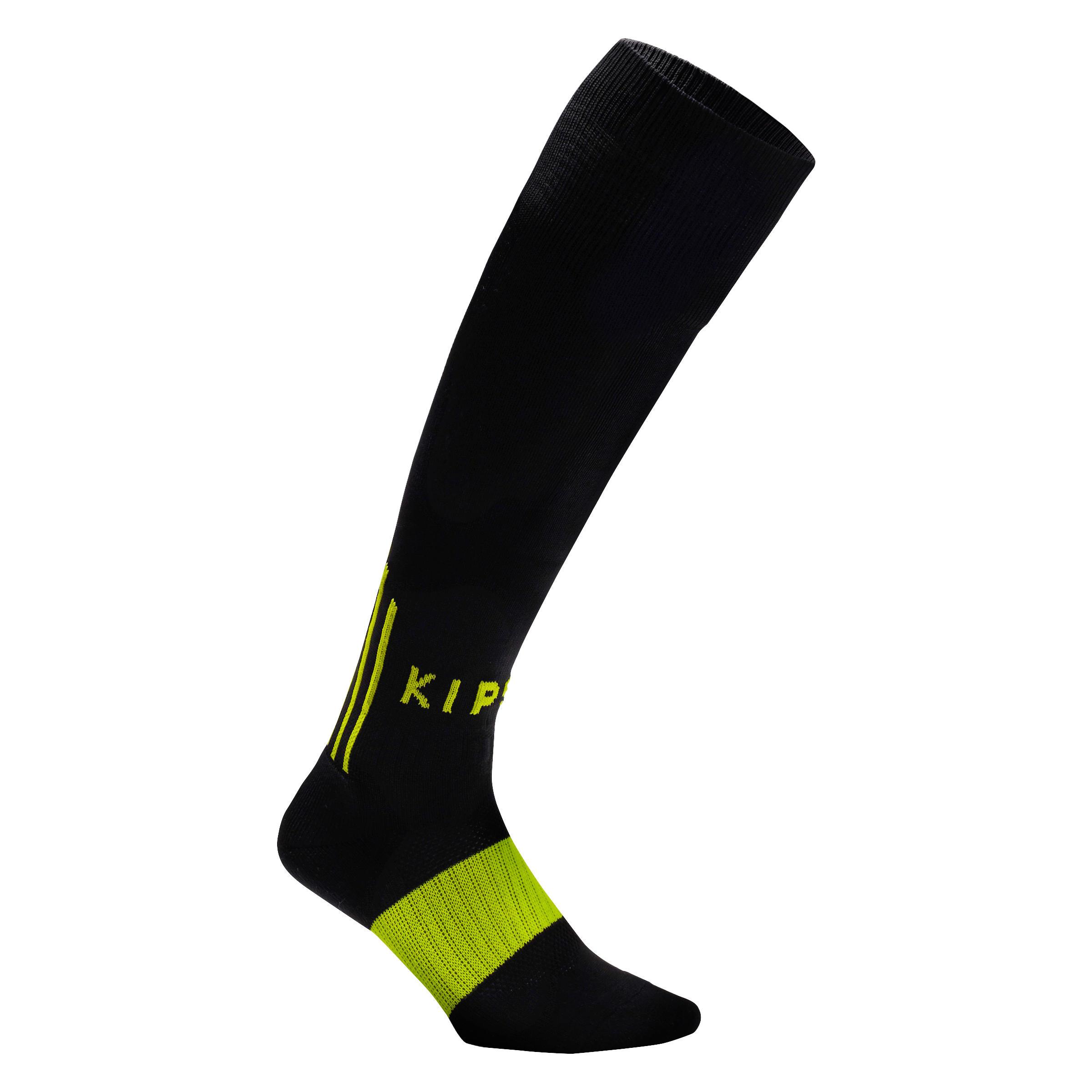 Calcetas de fútbol adulto F500 negro y amarillo vivo fluo