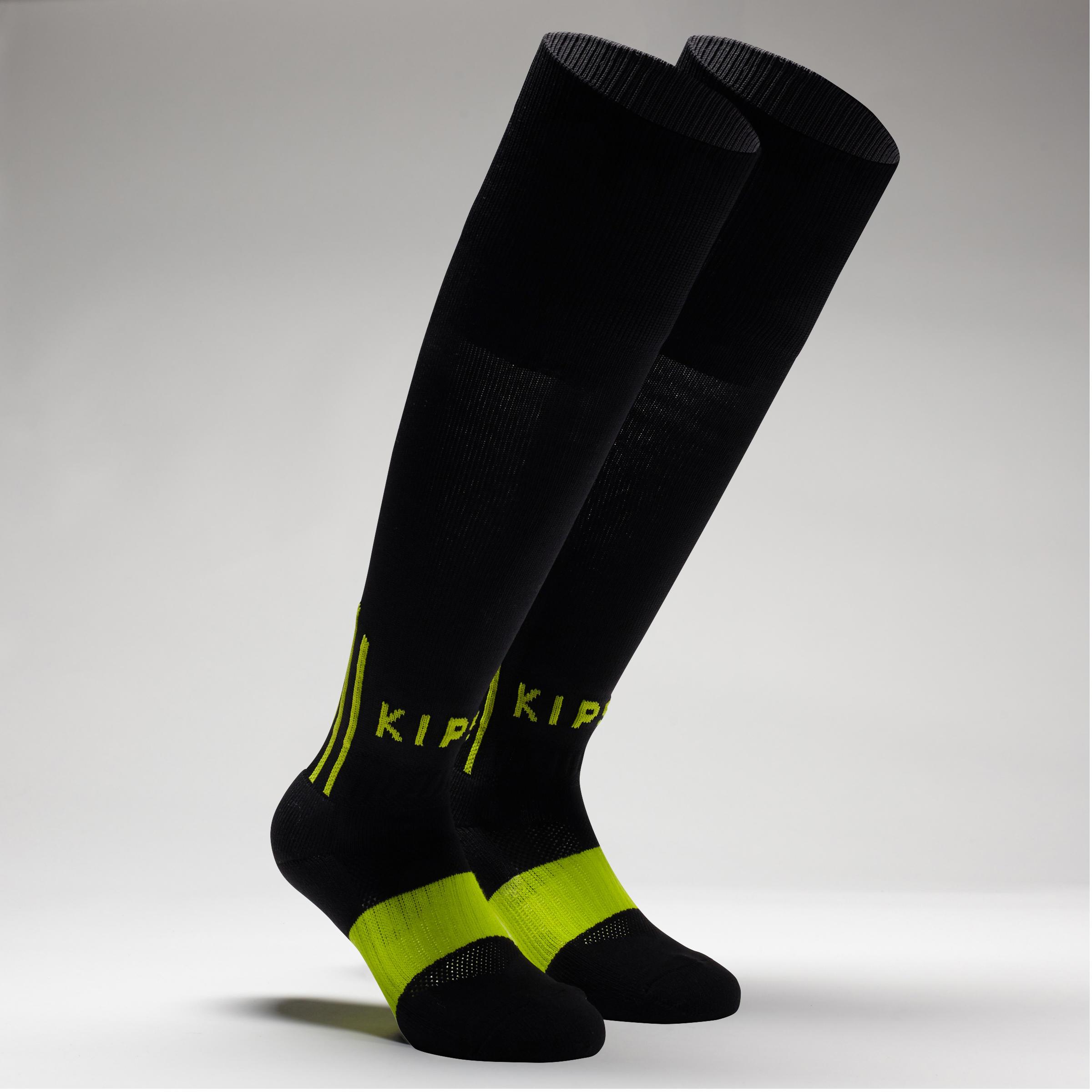F500 Kids' Football Socks - Black/Neon Yellow