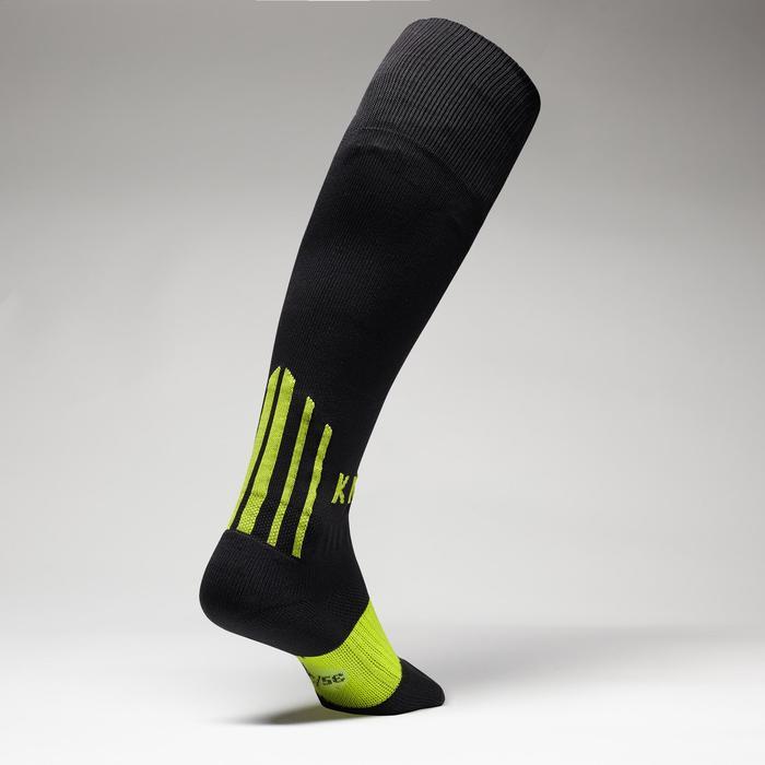 Chaussette de football enfant F500 noir et jaune fluo