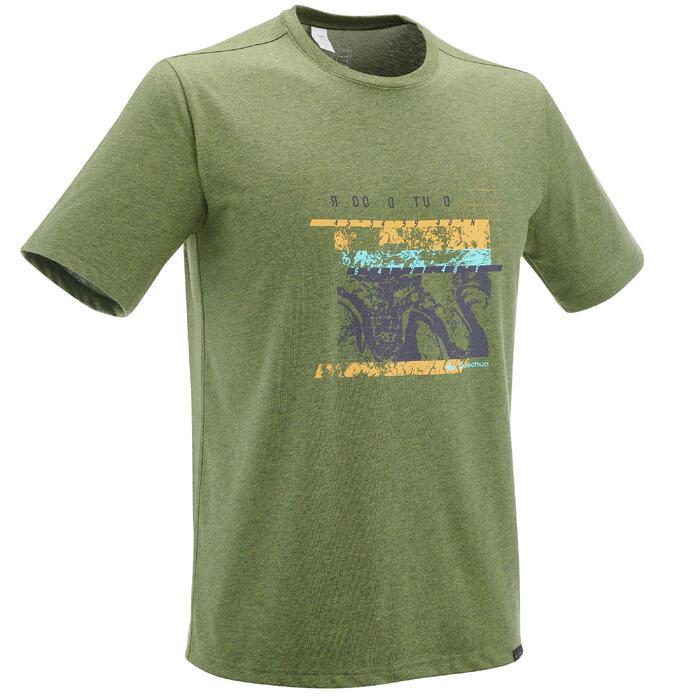 T-shirt wandelen NH500 kaki heren