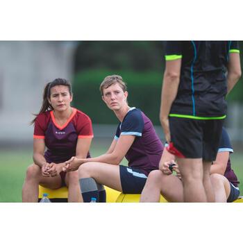 Rugbyshirt FH 500 voor dames pruim/marineblauw