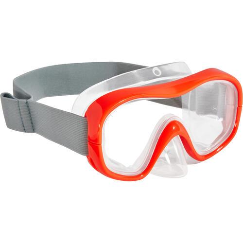 Masque d'apnée freediving FRD100 rouge fluo pour adultes / enfants