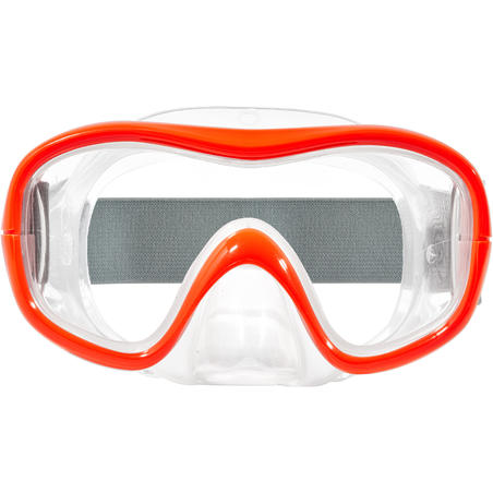 Máscara de snorkel SNK 500 adulto niños rojo flúor