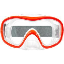 Máscara de buceo en apnea FRD100 roja fluorescente gris para adultos / niños