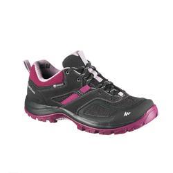 女性防水山區健行運動鞋 MH100 - 黑色/紫色