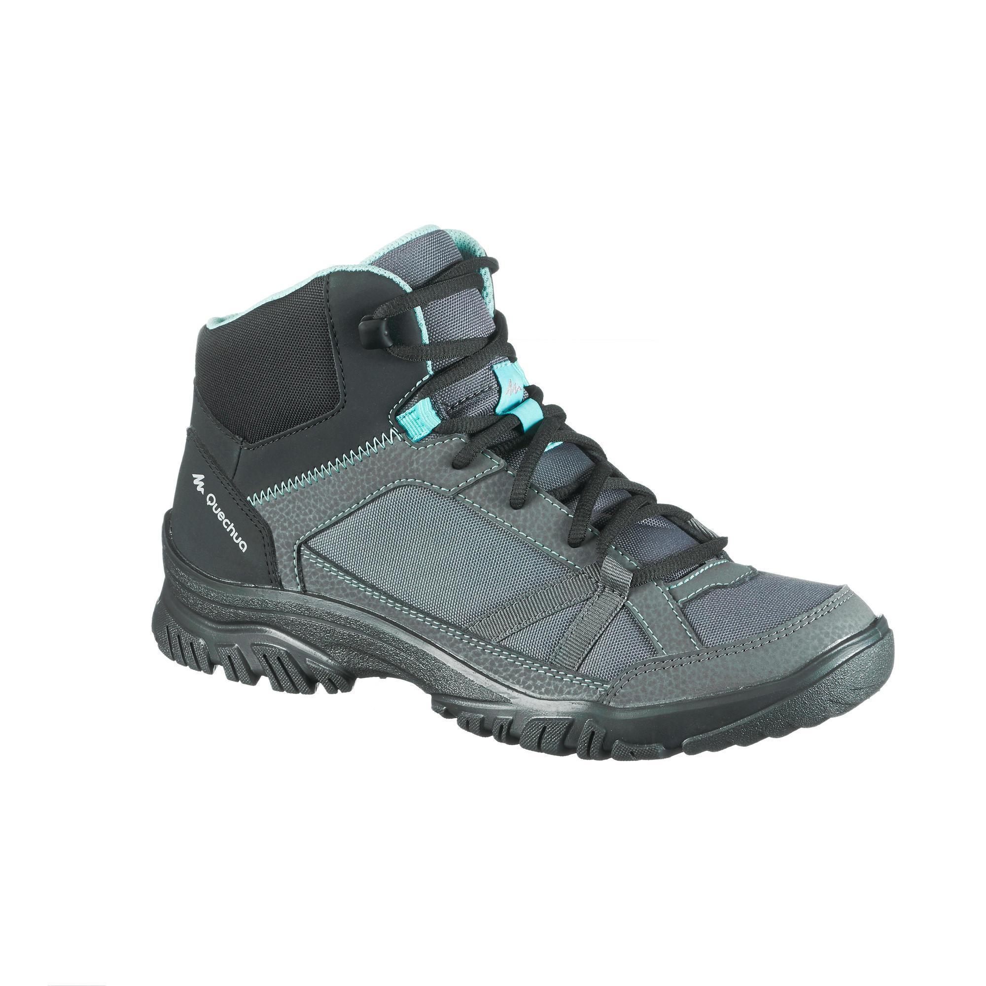 Quechua Schoenen voor wandelen in de natuur NH100 mid grijs blauw dames