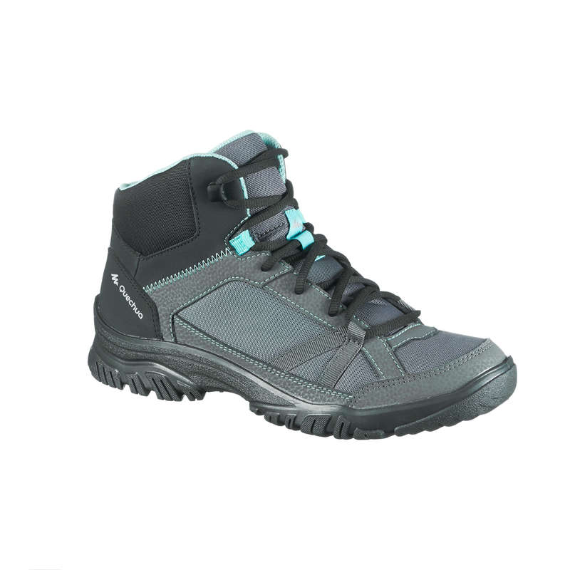 WOMEN NATURE HIKING SHOES - MH100 Mid Womens Walking Boots - Grey/Blue