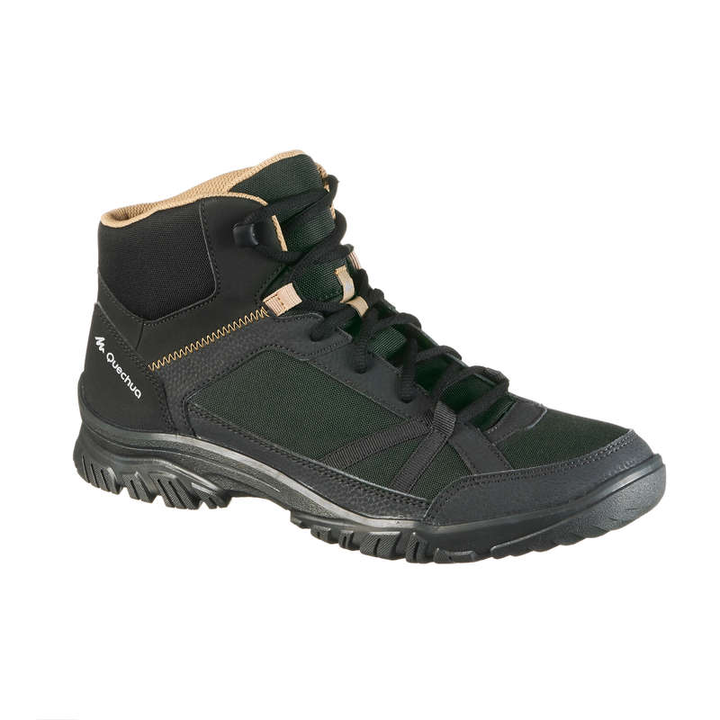 MEN NATURE HIKING SHOES Hiking - NH100 Mid Mens Walking Boots - Black  QUECHUA - Outdoor Shoes
