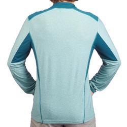 Camiseta Senderismo en la montaña MH550 manga larga 1/2 cremallera hombre Azul
