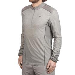 男款半開式拉鍊登山健行長袖T恤MH550-灰色