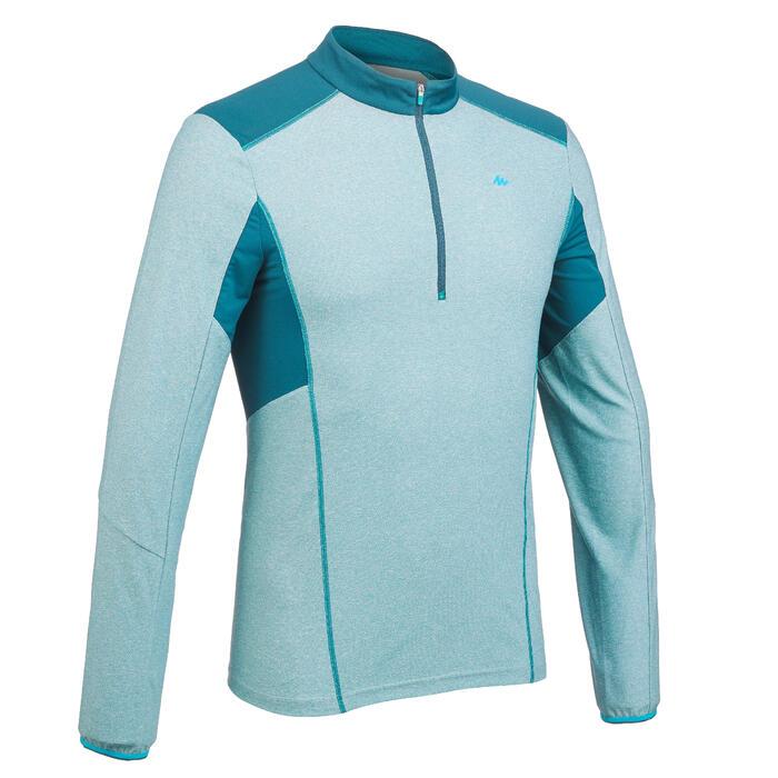 Heren T-shirt met lange mouwen en halve rits voor bergwandelen MH550 blauw