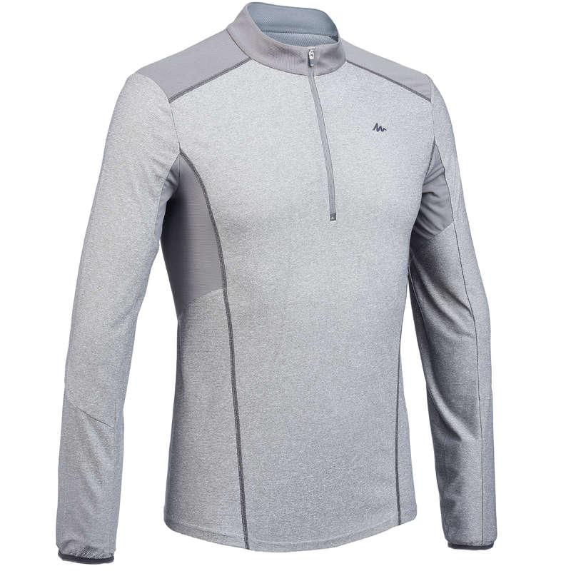 PANTALONI E T-SHIRT MONTAGNA UOMO Sport di Montagna - T-shirt uomo MH550 ML 1/2 ZIP QUECHUA - Trekking uomo