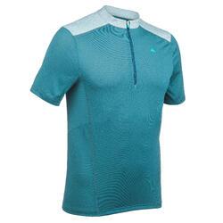 Heren T-shirt met korte mouwen en halve rits voor bergtrekking MH520 blauw