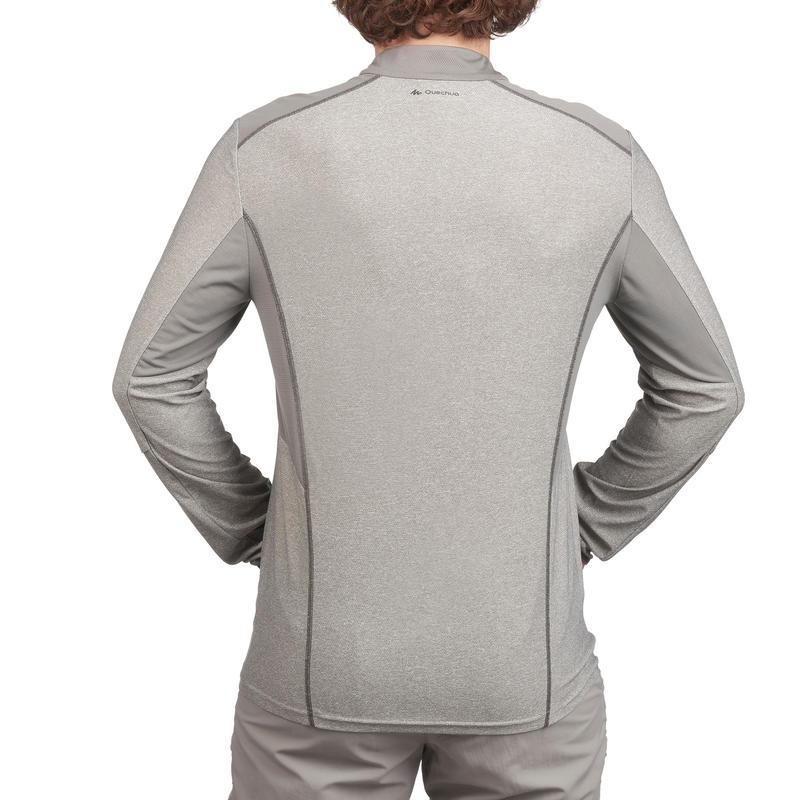 Camiseta de senderismo montaña MH550 manga larga 1/2 cremallera hombre gris