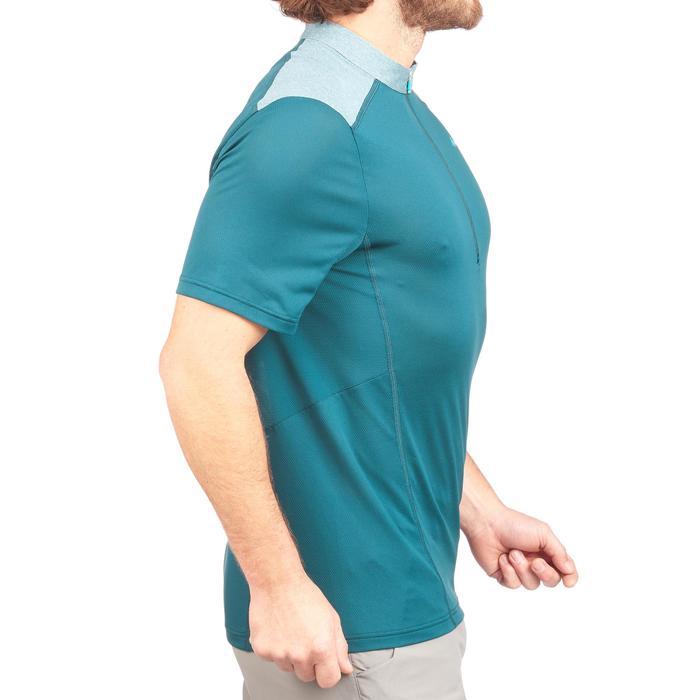 Camiseta senderismo en montaña MH520 manga corta con 1/2 cremallera hombre azul
