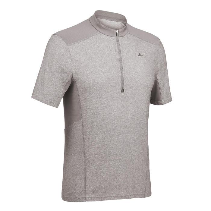 Heren T-shirt met korte mouwen en halve rits voor bergtrekking MH520 grijs