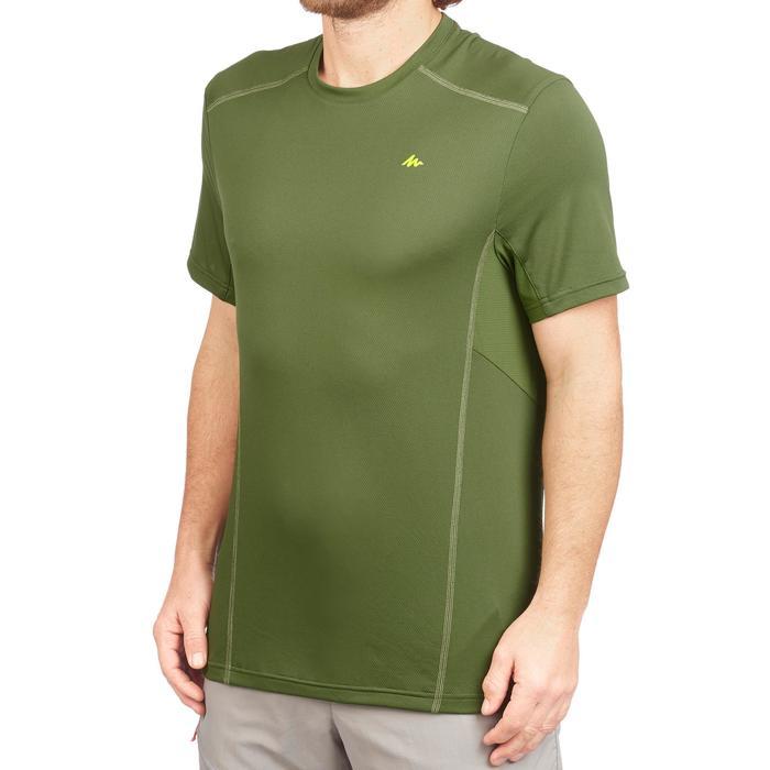 Heren T-shirt met korte mouwen voor bergtrekking MH500 donkergroen