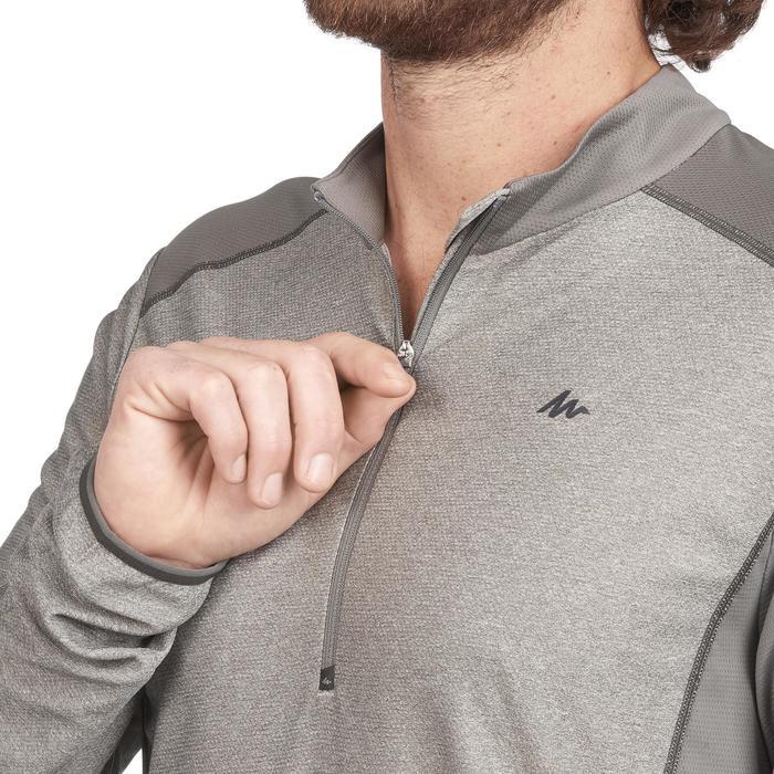 Heren T-shirt met lange mouwen en halve rits voor bergwandelen MH550 grijs