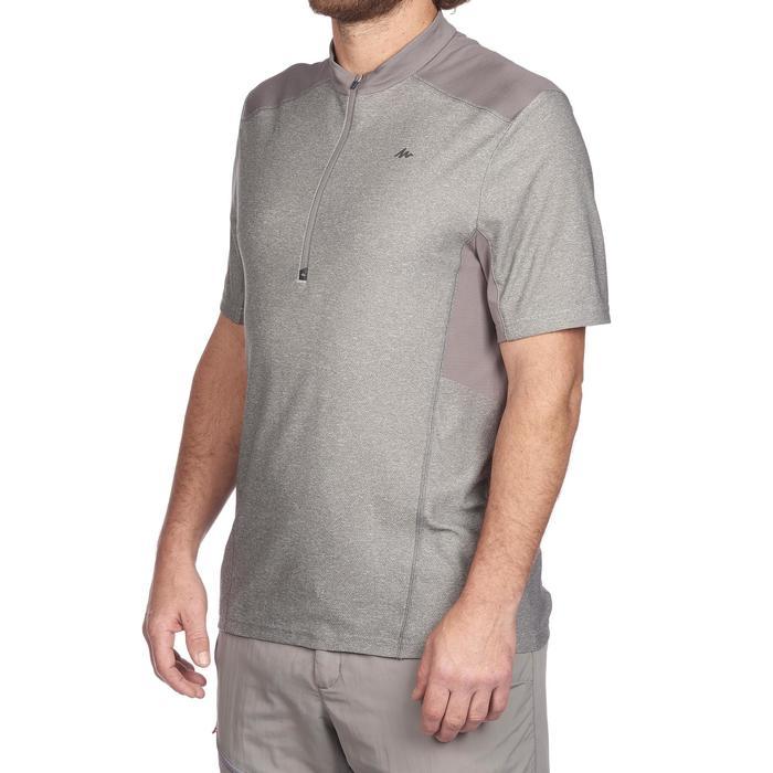 Camiseta Senderismo en la montaña MH520 manga corta 1/2 cremallera hombre Gris