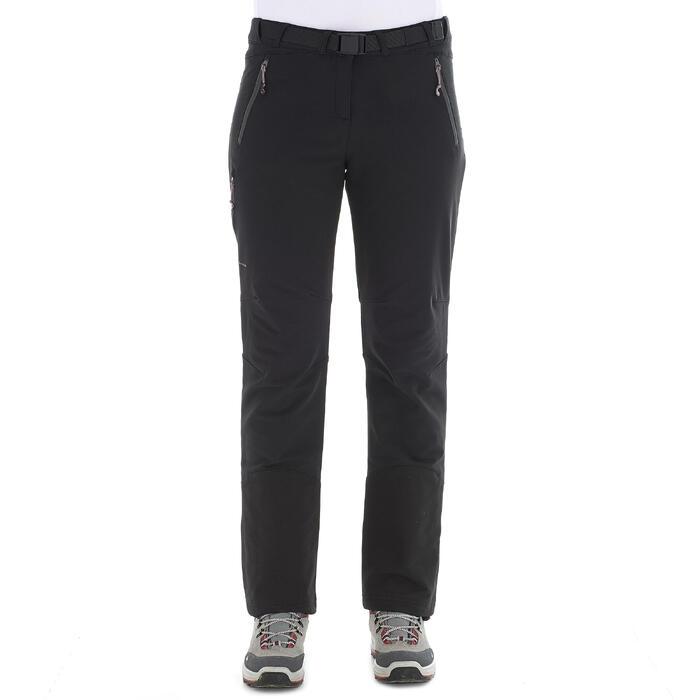 女款保暖彈性雪地健行長褲SH500-黑色