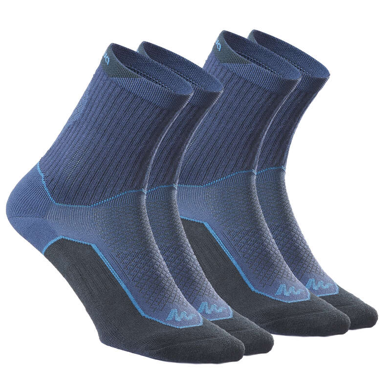 HIKING SOCKS Hiking - NH500 High X 2 pairs - Navy QUECHUA - Outdoor Shoe Accessories