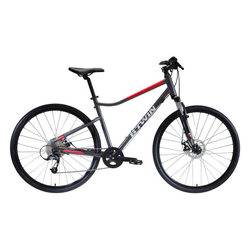 Cross Bike 28 Zoll Riverside 500 Grau Rot Riverside Decathlon