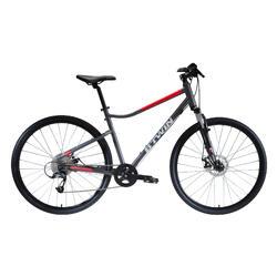 Hybridefiets Riverside 500 grijs/rood - fitness fiets met vering en schijfremmen