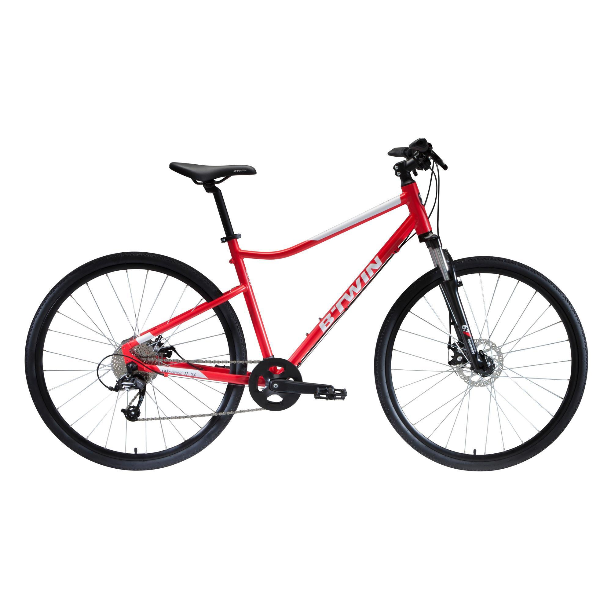 B'twin Hybridefiets Riverside 500 rood - fitness fiets met vering en schijfremmen
