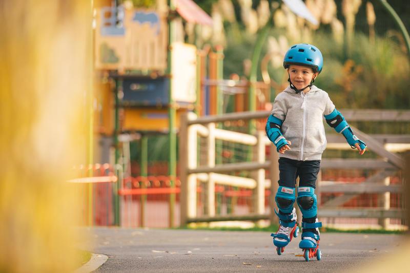 Set 3 protecciones patines, skateboard y scooters niños Basic azul