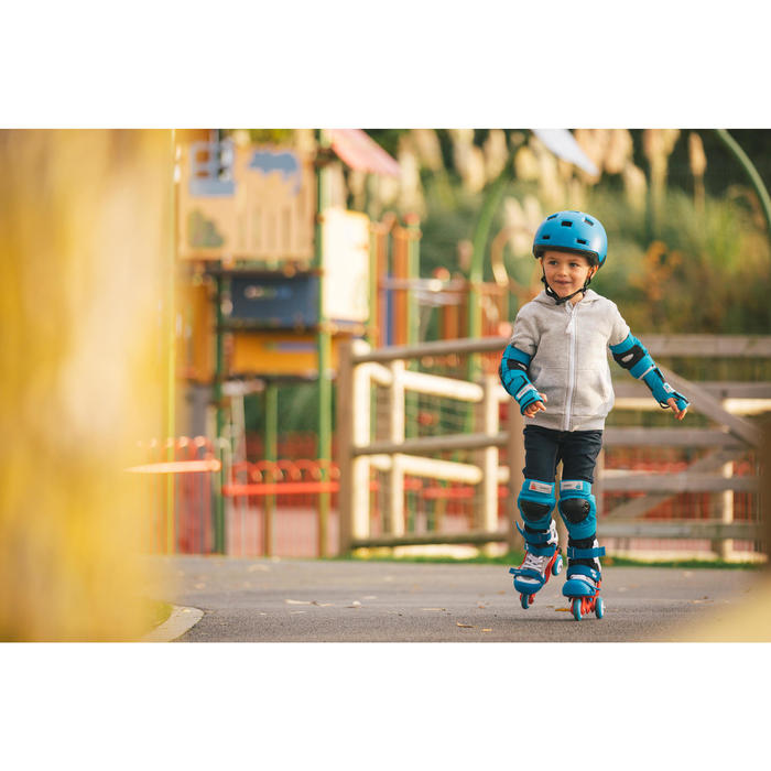 Set 3 protections roller skate trottinette enfant BASIC bleu