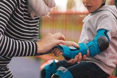 3قطع حماية خاصة بالأطفال لأحذية التزلج وألواح التزلج والاسكوتر-أزرق
