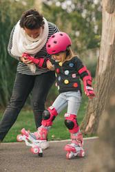 Ens. de 3 protections patin, planche à roulettes, trottinette enfant BASIC rose