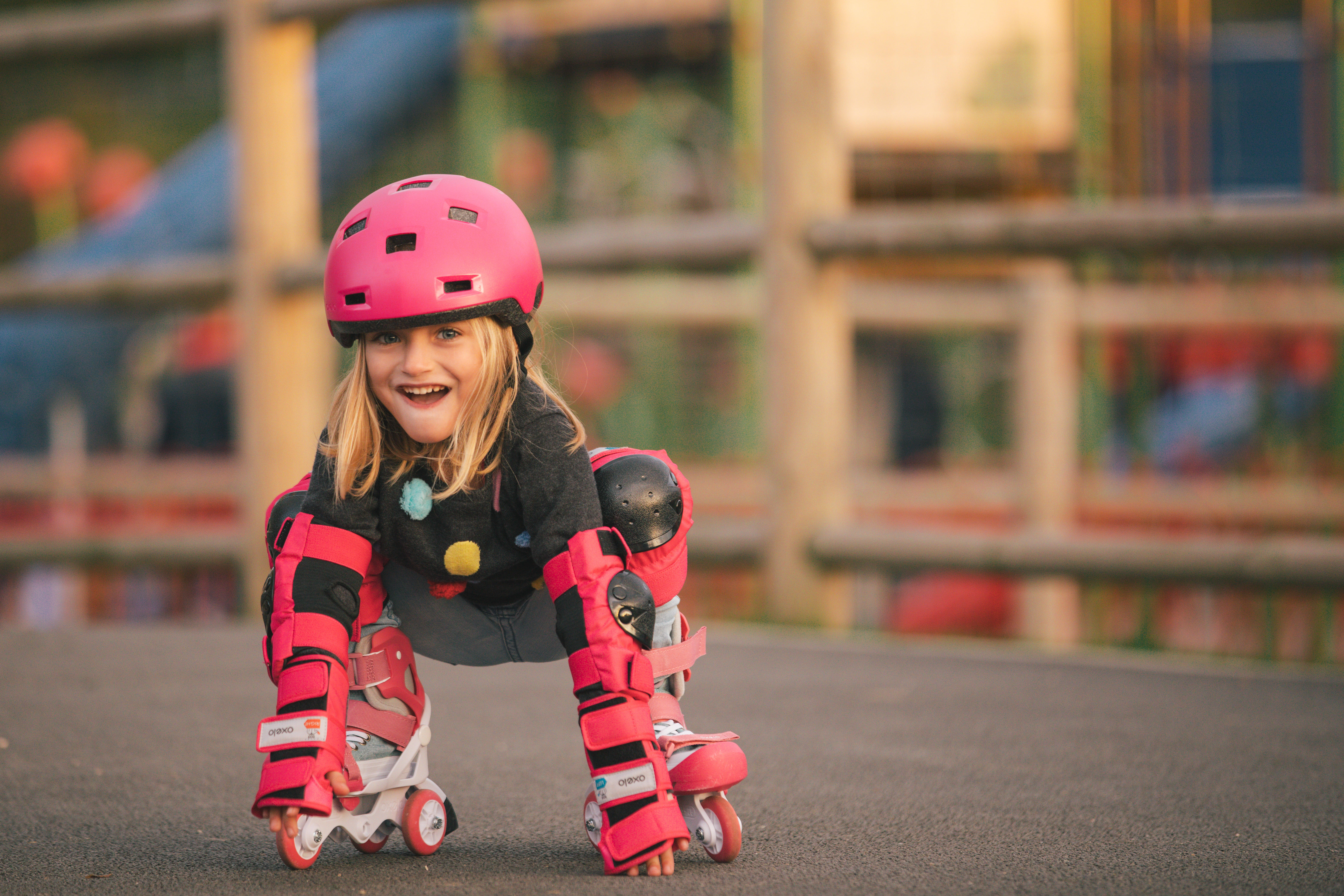 Ens. de 3 protections pour patin, skateboard, trottinette pour enfant BASIC rose