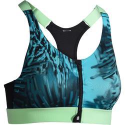 Brassière Zip fitness cardio femme imprimés tropicaux bleus 900 Domyos