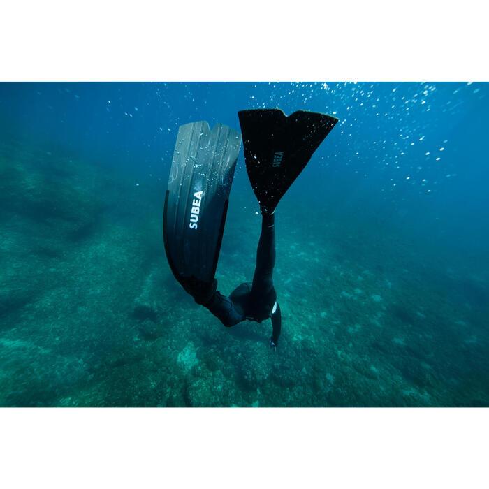Aletas Largas Pesca Submarina Apnea Subea SPF 500 Adulto Negro