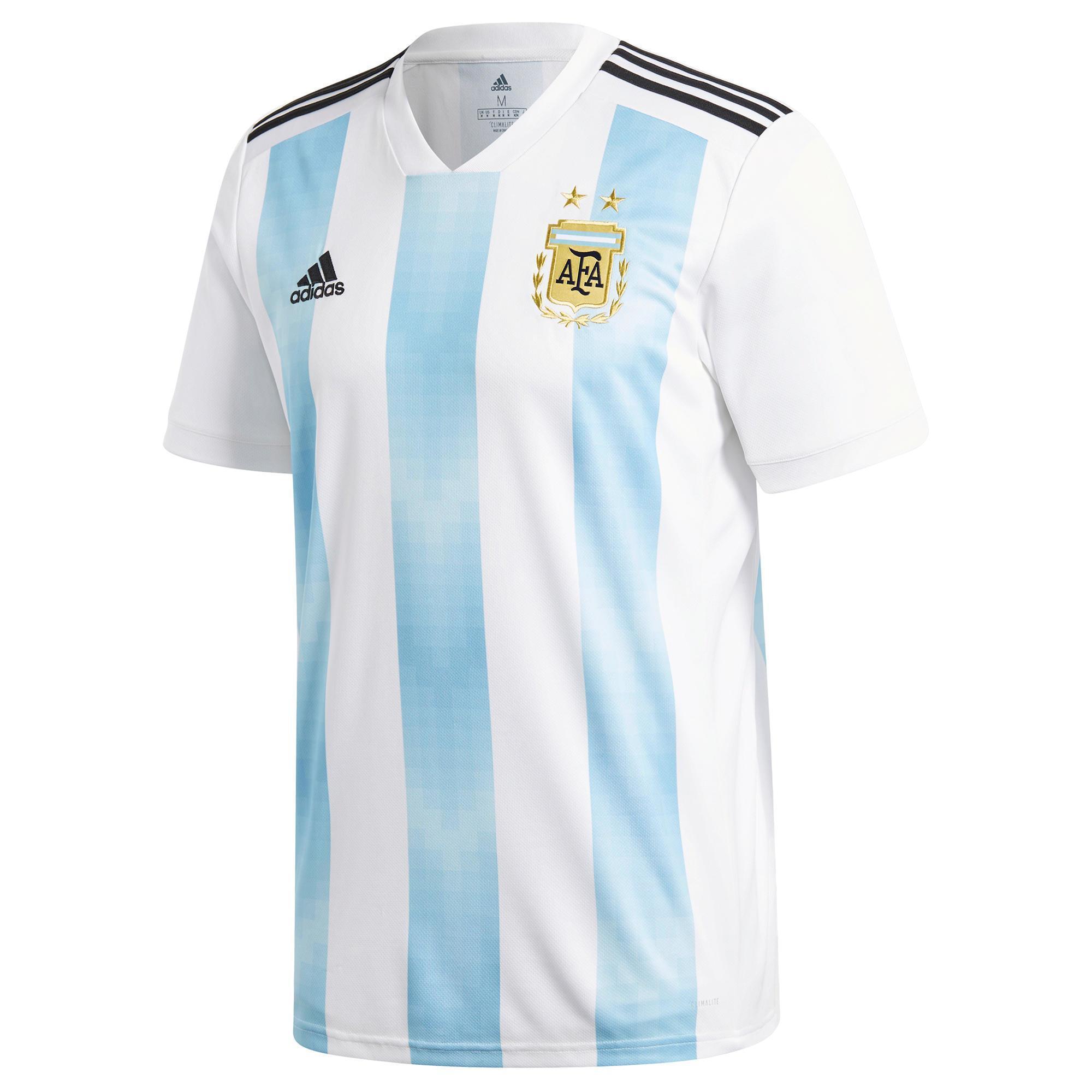 Adidas Voetbalshirt Argentinië thuisshirt WK 2018 voor kinderen wit/blauw