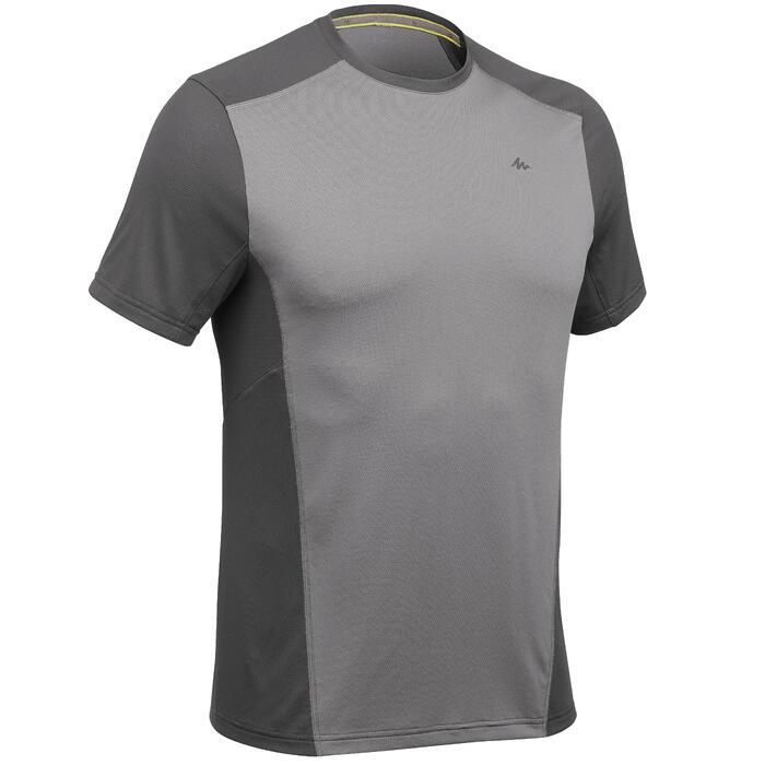Camiseta de senderismo montaña MH500 manga corta hombre gris