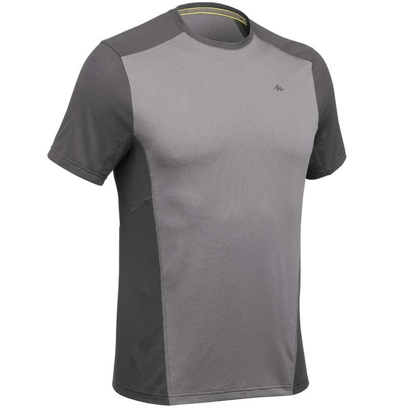 MEN MOUNTAIN HIKING TEE SHIRTS, PANTS Hiking - MH500 T-shirt - Grey QUECHUA - Hiking Clothes