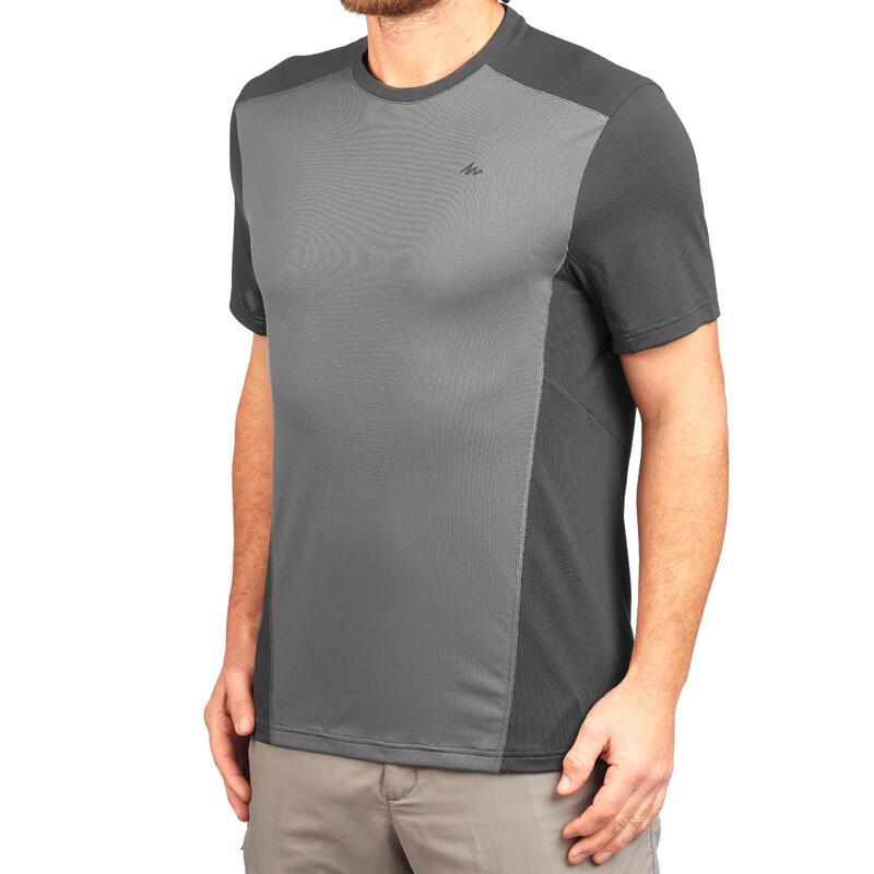 Camiseta Senderismo en la montaña MH500 manga corta hombre Gris