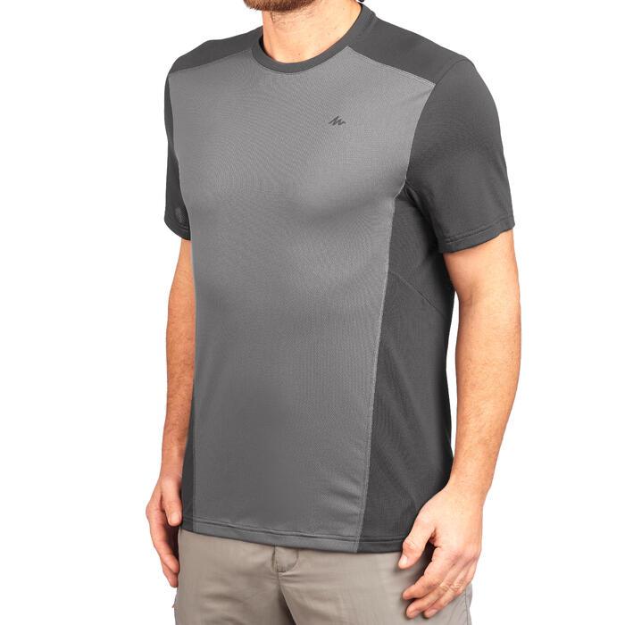 Heren T-shirt met korte mouwen voor bergwandelen MH500 grijs