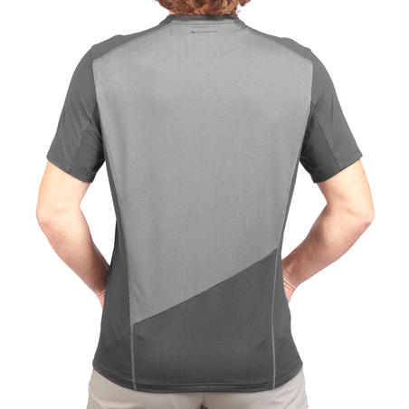 MH500 Men's Short-Sleeved Mountain Hiking T-shirt - Grey