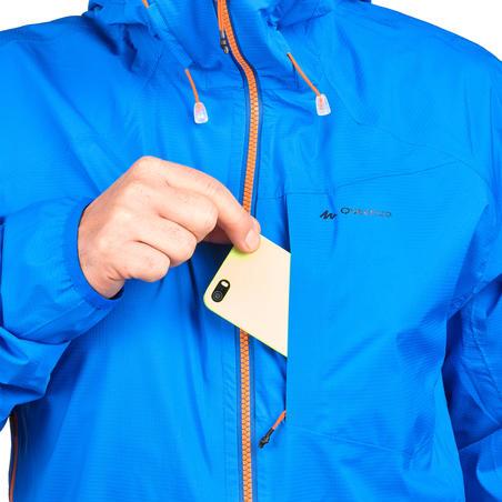 Jaket Hiking Cepat Tahan Air Pria FH500 Helium Rain - Biru
