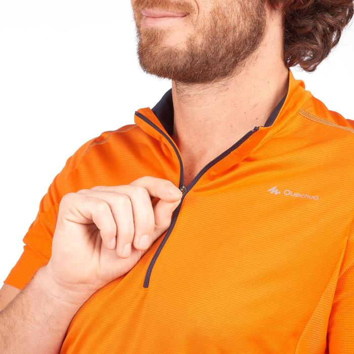 Camiseta de manga corta de senderismo rápido hombre FH500 Helium Naranja