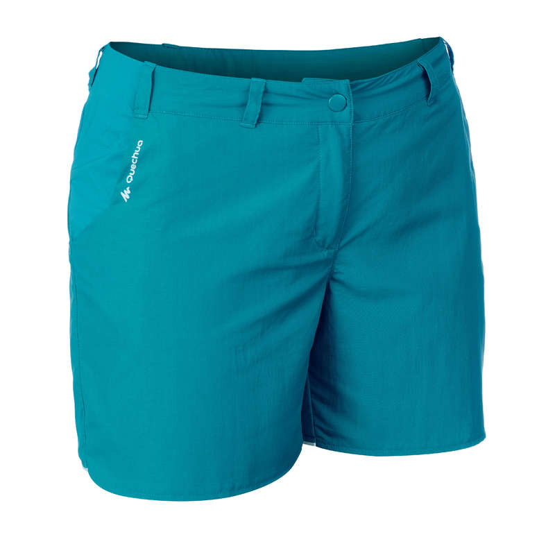 WOMEN MOUNT HIK SHORT, CORSAIR WARM W Hiking - MH100 W Shorts - Turquoise QUECHUA - Hiking Clothes