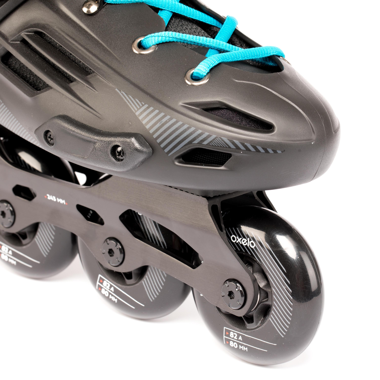 Patin à roues alignées pour adulte MF500 Rigide noir bleu
