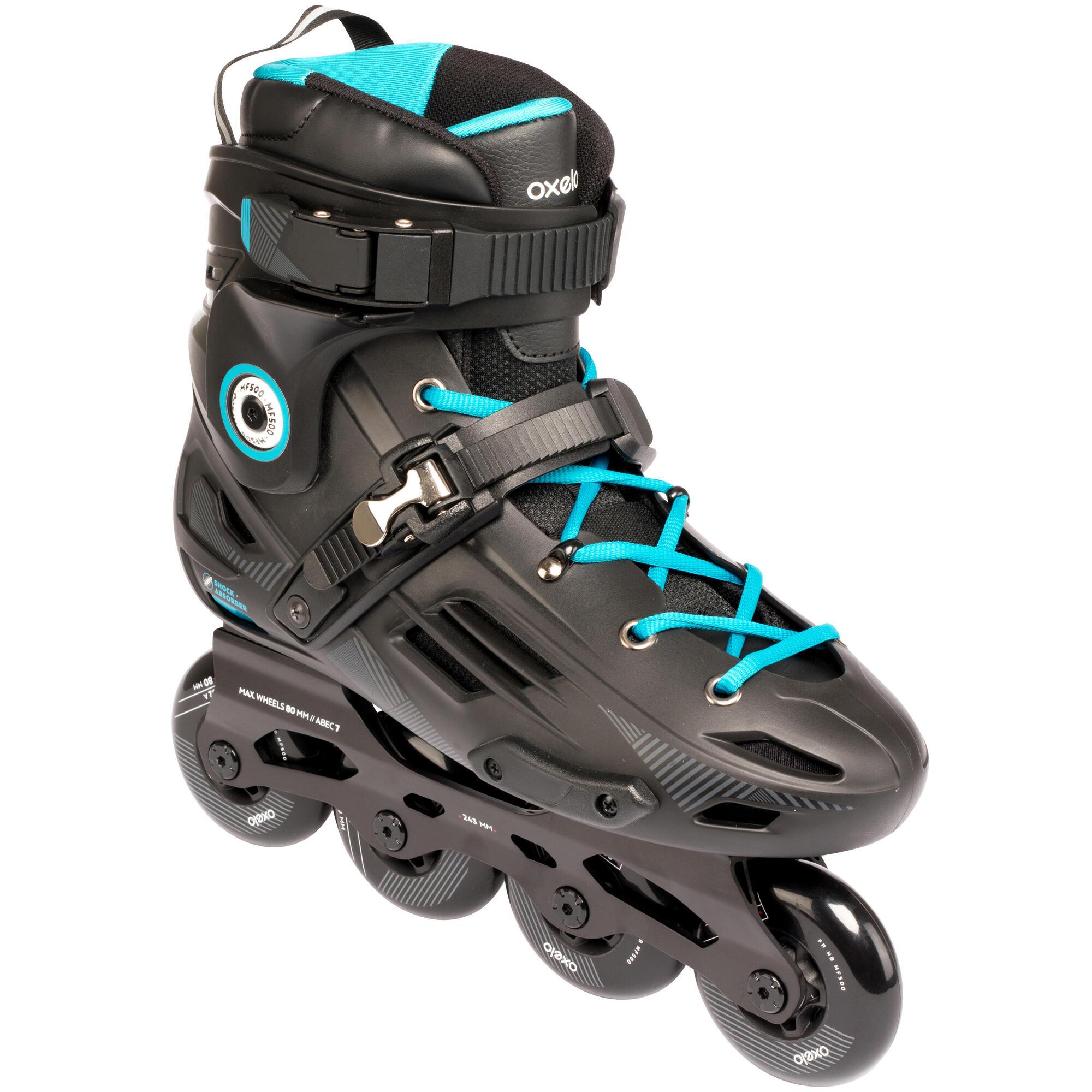 Mf500 Hardboot Adult Freeride Skate Black Blue Oxelo