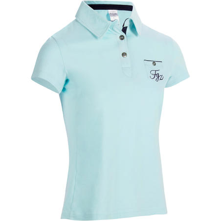 140 Women's Horseback Riding Short-Sleeved Polo Shirt - Sea Green