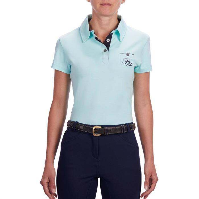Polo manches courtes équitation femme 140 vert d'eau